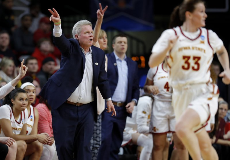 Iowa State coach Bill Fennelly, left, gestures during the first half of the team's second-round game against Iowa State in the NCAA women's college basketball tournament Monday, March 25, 2019, in Ames, Iowa. (AP Photo/Matthew Putney)