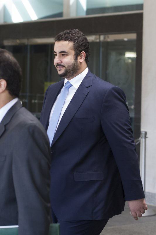Prince Khalid bin Salman, Saudi deputy defense minister, departs the Department of State after a meeting with Secretary of State Mike Pompeo, in Washington, Thursday, March 28, 2019. (AP Photo/Cliff Owen)