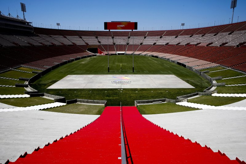 FILE - This May 11, 2017 file photo, shows the interior of the Los Angeles Memorial Coliseum in Los Angeles. (AP Photo/Jae C. Hong, File)