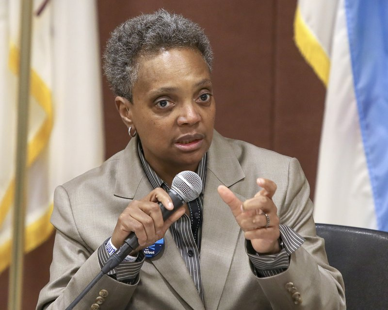 In this March 24, 2019 photo, Chicago mayoral candidate Lori Lightfoot participates in a candidate forum sponsored by One Chicago For All Alliance at Daley College in Chicago. (AP Photo/Teresa Crawford)