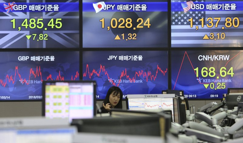 A currency trader gestures at the foreign exchange dealing room of the KEB Hana Bank headquarters in Seoul, South Korea, Friday, March 29, 2019. (AP Photo/Ahn Young-joon)