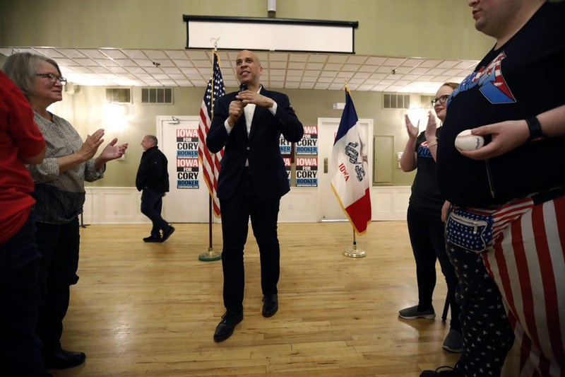 2020 Democratic presidential candidate Sen. Cory Booker speaks during a meeting with local residents, Saturday, March 16, 2019, in Ottumwa, Iowa. (AP Photo/Charlie Neibergall)