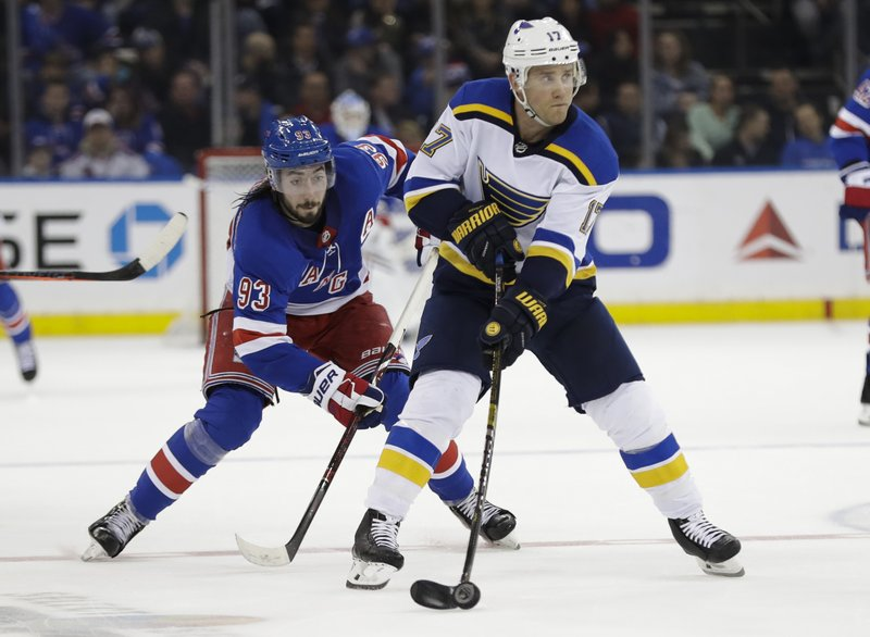 New York Rangers' Mika Zibanejad (93) fights for control of the puck with St. Louis Blues' Jaden Schwartz (17) during the second period of an NHL hockey game Friday, March 29, 2019, in New York. (AP Photo/Frank Franklin II)