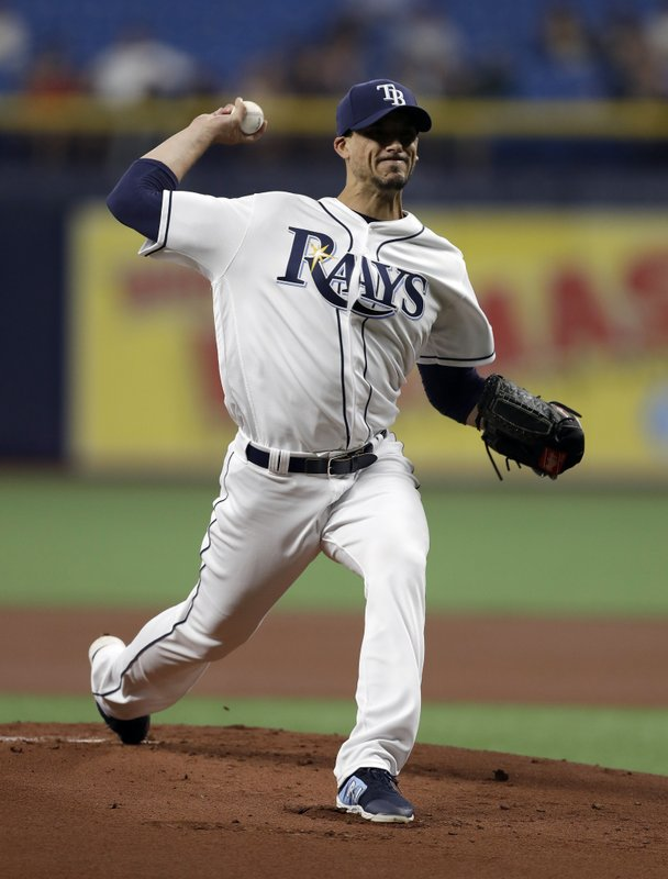 Tampa Bay Rays starting pitcher Charlie Morton delivers to the Houston Astros during the first inning of a baseball game Friday, March 29, 2019, in St. (AP Photo/Chris O'Meara)