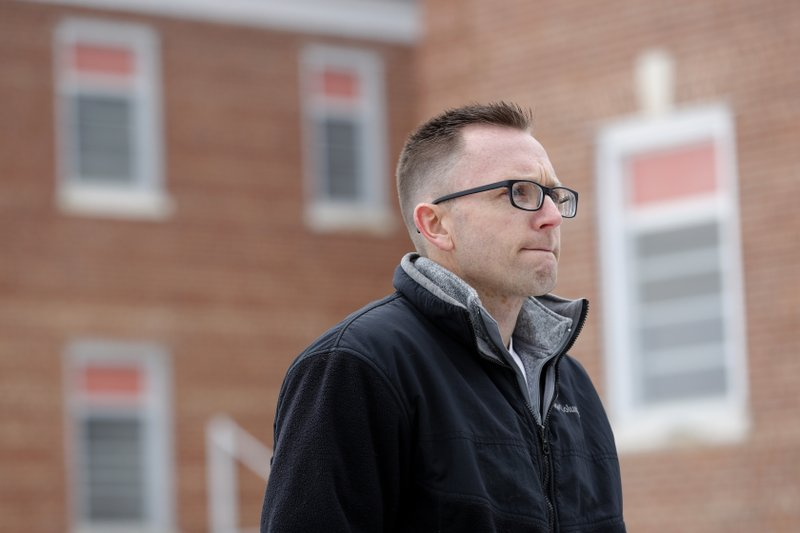 Knoxville Mayor Brian Hatch talks about the history of the Veterans Affairs campus, Tuesday, March 12, 2019, in Knoxville, Iowa. (AP Photo/Charlie Neibergall)