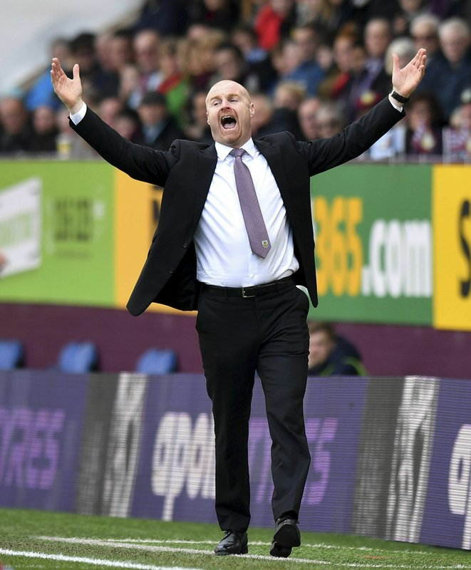 Burnley manager Sean Dyche reacts during the English Premier League soccer match between Burnley and Wolverhampton Wanderers at the Turf Moor stadium, Burnley, England. (Anthony Devlin/PA via AP)
