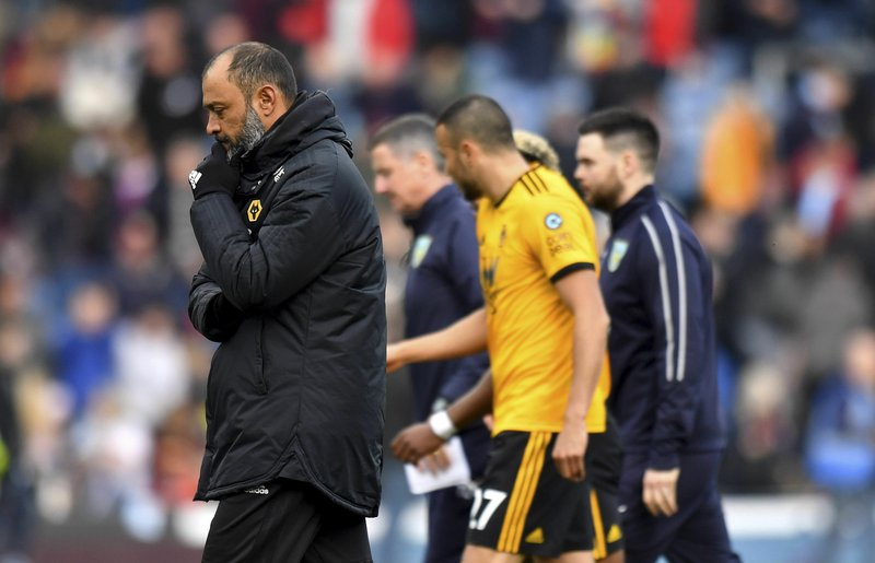 Wolverhampton Wanderers manager Nuno Espirito Santo leaves the pitch at half-time during the English Premier League soccer match between Burnley and Wolverhampton Wanderers at the Turf Moor stadium, Burnley, England. (Anthony Devlin/PA via AP)/PA via AP)