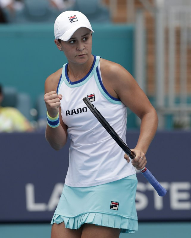Ashleigh Barty, of Australia, pumps her fist after winning a point against Carolina Pliskova, of the Czech Republic, during the singles final of the Miami Open tennis tournament, Saturday, March 30, 2019, in Miami Gardens, Fla. (AP Photo/Lynne Sladky)