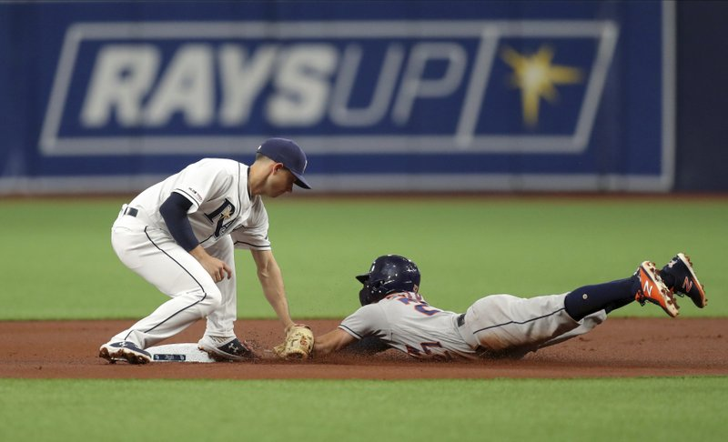 Tampa Bay Rays second baseman Brandon Lowe, left, tags out Houston Astros' Jose Altuve trying to steal second during the first inning of a baseball game Saturday, March 30, 2019, in St. (AP Photo/Mike Carlson)
