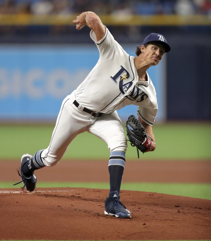 Tampa Bay Rays starting pitcher Tyler Glasnow throws during the first inning of a baseball game against the Houston Astros, Saturday, March 30, 2019, in St. (AP Photo/Mike Carlson)