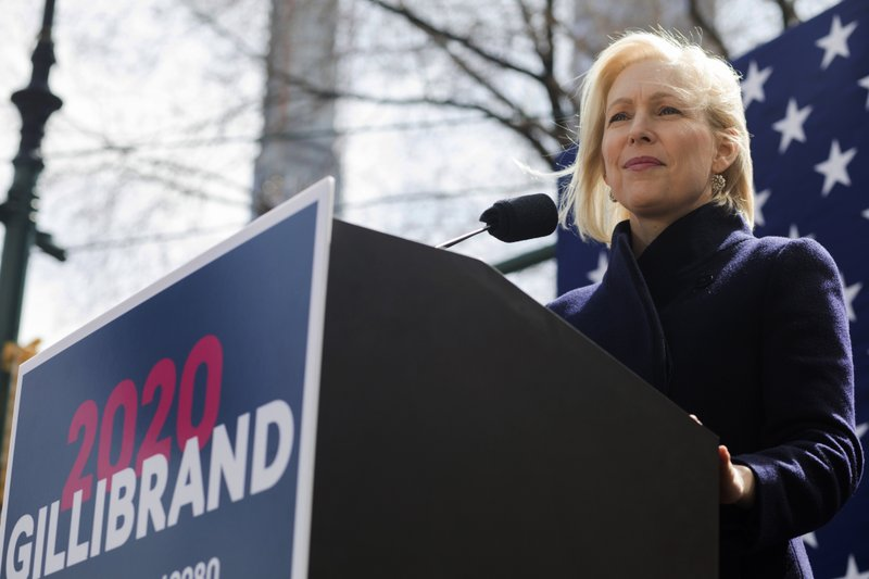 FILE - In this March 24, 2019 file photo, Sen. Kirsten Gillibrand, D-N.Y., speaks at the kickoff of her presidential campaign,near the Trump International Hotel and Tower in New York. (AP Photo/Julius Constantine Motal, File)