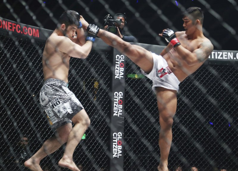Mixed martial arts (MMA) fighters Aung La N Sang of Myanmar, right, and Japan's Ken Hasegawa fight during their middleweight world championship of One Championship bout in Tokyo, Sunday, March 31, 2019. (AP Photo/Koji Sasahara)