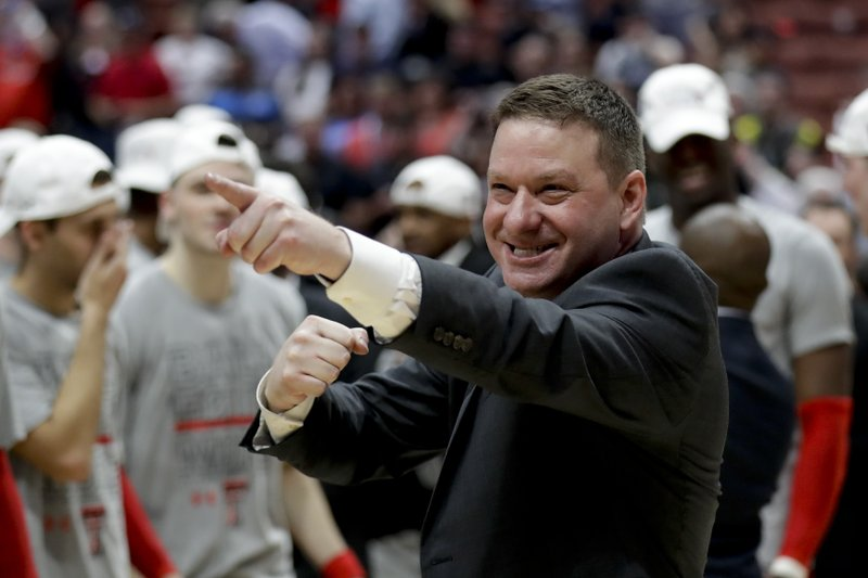 Texas Tech head coach Chris Beard celebrates after the team's win against Gonzaga during the West Regional final in the NCAA men's college basketball tournament Saturday, March 30, 2019, in Anaheim, Calif. (AP Photo/Marcio Jose Sanchez)