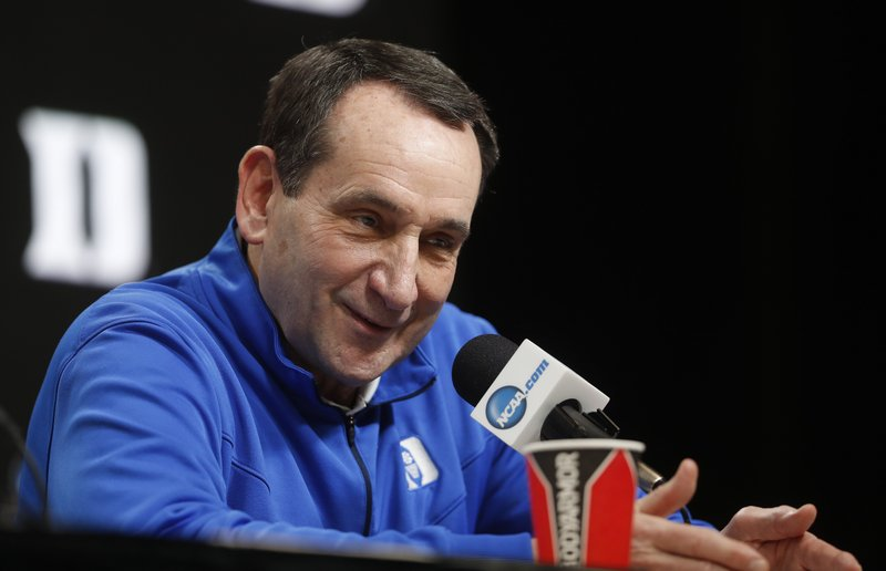 Duke head coach Mike Krzyzewski answers questions during a news conference at the NCAA men's college basketball tournament in Washington, Thursday, March 28, 2019. (AP Pablo Martinez Monsivais}