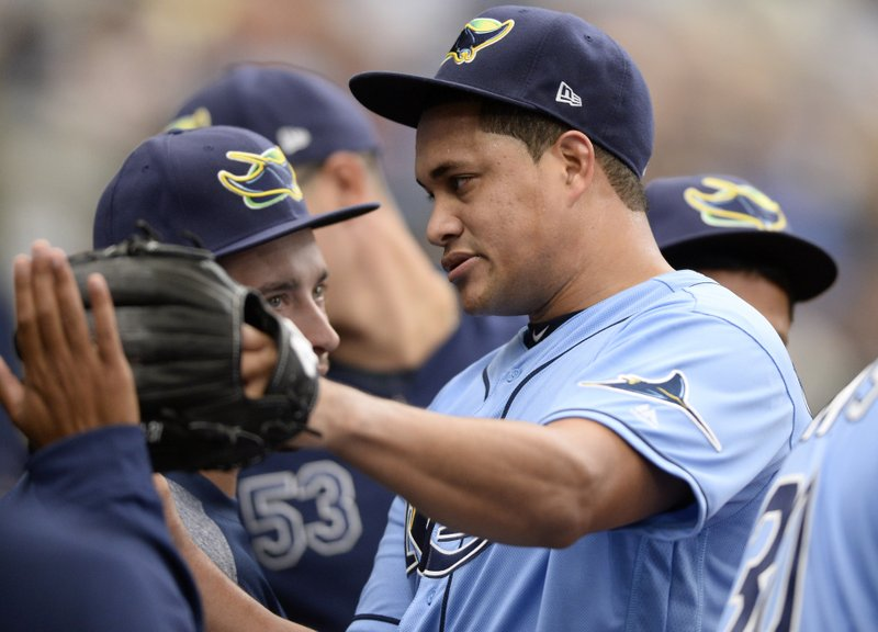 Tampa Bay Rays starting pitcher Yonny Chirinos comes off the field at the end of the top of the seventh inning of a baseball game against the Houston Astros, Sunday, March 31, 2019, in St. (AP Photo/Jason Behnken)