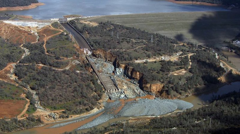 FILE - This Feb. 27, 2017, file image provided by KCRA shows Oroville Dam's crippled spillway in Oroville, Calif. (KCRA via AP, File)