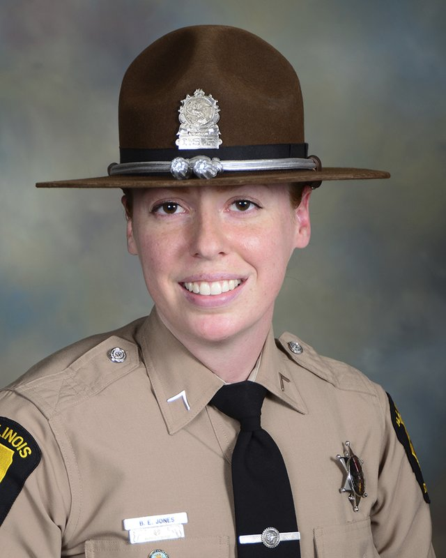 In this undated photo provided by the Illinois State Police is Trooper Brooke Jones-Story, who was killed in the crash that occurred on Route 20 near Route 75 Thursday, March 28, 2019, in Freeport, Ill. (Illinois State Police via AP)