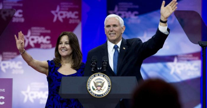 Vice President Mike Pence and his wife Karen Pence are introduced during CPAC 2019 on March 1 in National Harbor, Maryland. (Photo: AP)