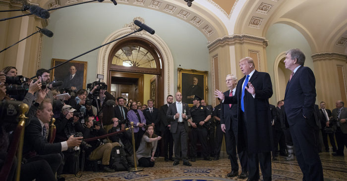 President Donald J. Trump, joined by Senate Majority Leader Mitch McConnell and Senator Roy Blunt, R-MO., speaks with reporters prior to attending a Senate Republican lunch Tuesday, March 26, 2019, at the U.S. Capitol in Washington, D.C. (Official White House Photo by Joyce N. Boghosian)