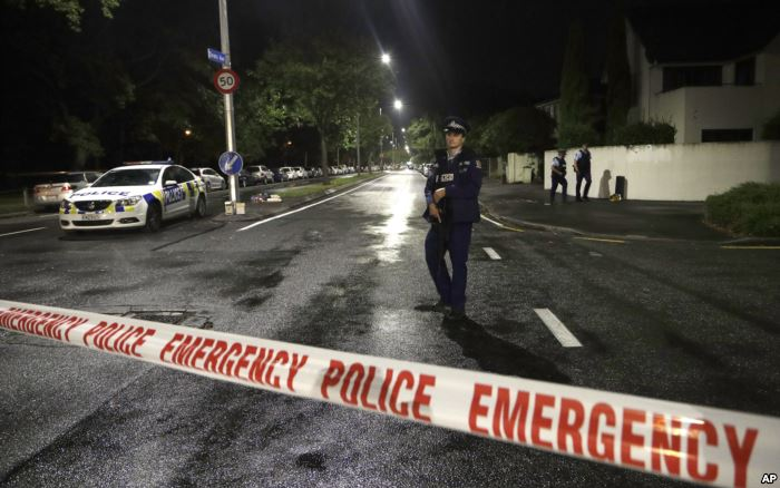 A police officer patrols at a cordon near a mosque in central Christchurch, N