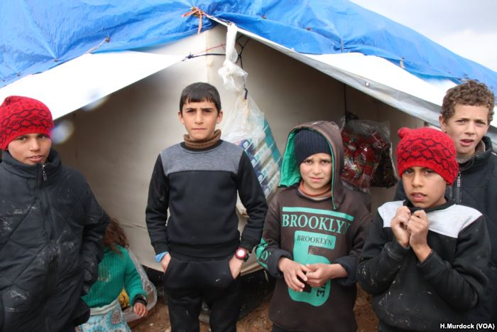 Children, pictured in al-Hol Camp, Syria, March 4, 2019, say they felt safer