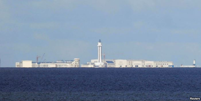 FILE - Chinese structures are pictured at the disputed Spratlys in South Chin