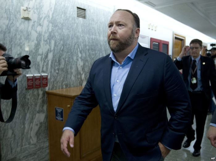FILE - Conspiracy theorist Alex Jones is pictured on Capitol Hill in Washingt