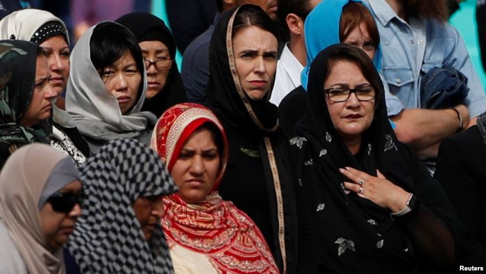 New Zealand's Prime Minister Jacinda Ardern attends the Friday prayers at