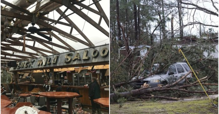 This photo shows some damage at the Buck Wild Saloon, located on U.S. Highway 280, east of Smiths Station, Ala., Sunday, March 3, 2019, after a powerful ...