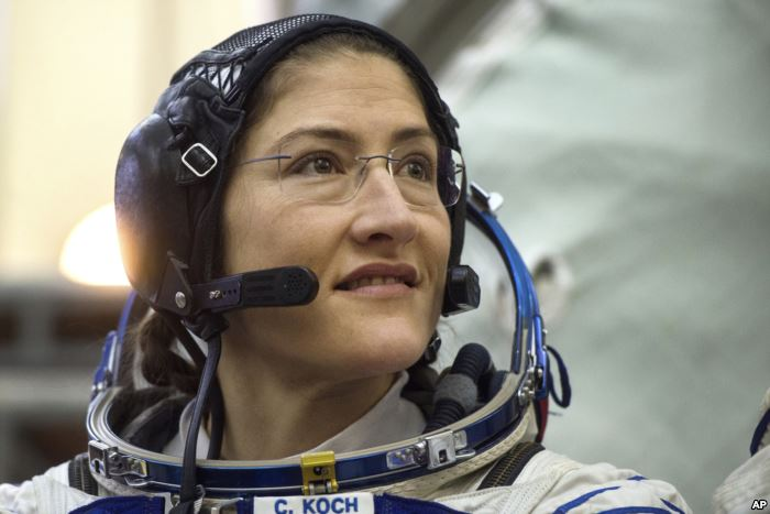 U.S. astronaut Christina Hammock Koch, a member of the International Space St