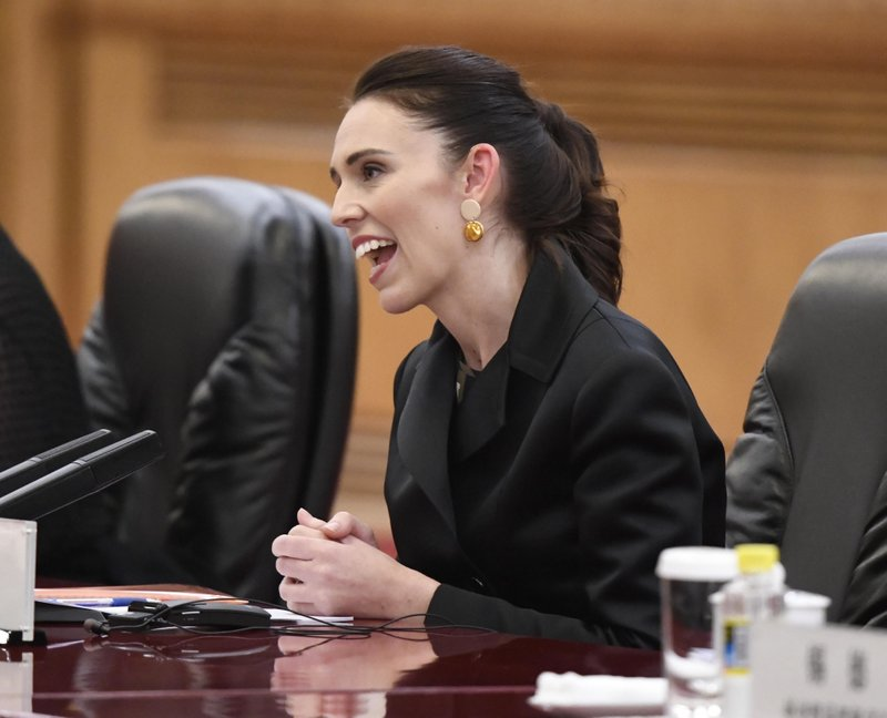 New Zealand Prime Minister Jacinda Ardern speaks during a meeting with Chinese Premier Li Keqiang at the Great Hall of the People in Beijing Monday, April 1, 2019. (Naohiko Hatta/Pool Photo via AP)