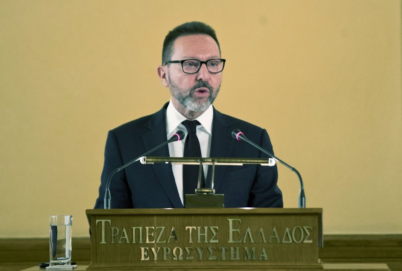 Bank of Greece Governor Yannis Stournaras gives a speech at the annual meeting of the bank's shareholders in Athens, on Monday, April 1, 2019. (AP Photo/Petros Giannakouris)