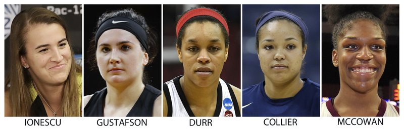 FILE - These are file photos showing members of The Associated Press women's All-America NCAA college basketball first team, announced Monday, April 1, 2019. (AP Photo/File)