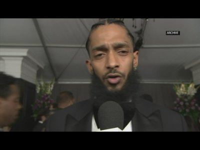 Celebrities pay tribute on social media to Grammy-nominated rapper Nipsey Hussle, who was shot and killed outside his clothing store, aged 33. (April 1)