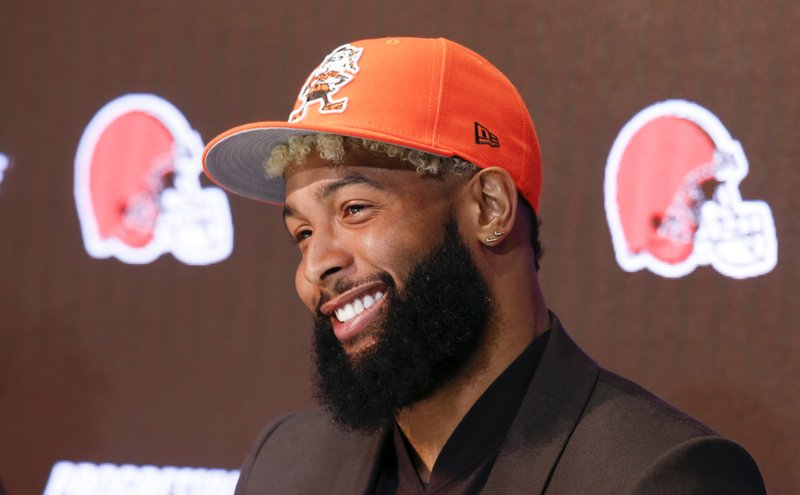 Cleveland Browns' Odell Beckham answers questions during a news conference Monday, April 1, 2019, in Berea, Ohio. (AP Photo/Ron Schwane)
