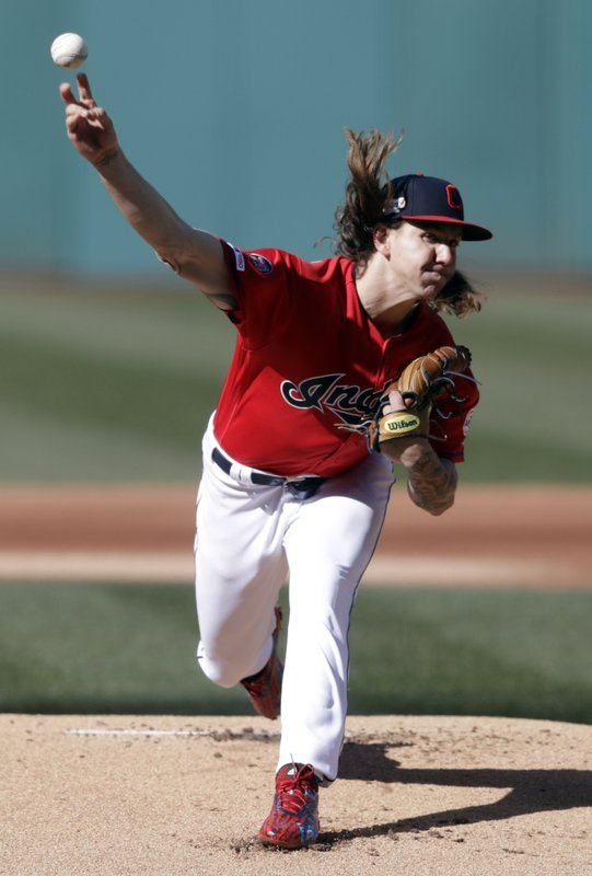 Cleveland Indians starting pitcher Mike Clevinger delivers in the first inning of a baseball game against the Chicago White Sox, Monday, April 1, 2019, in Cleveland. (AP Photo/Tony Dejak)