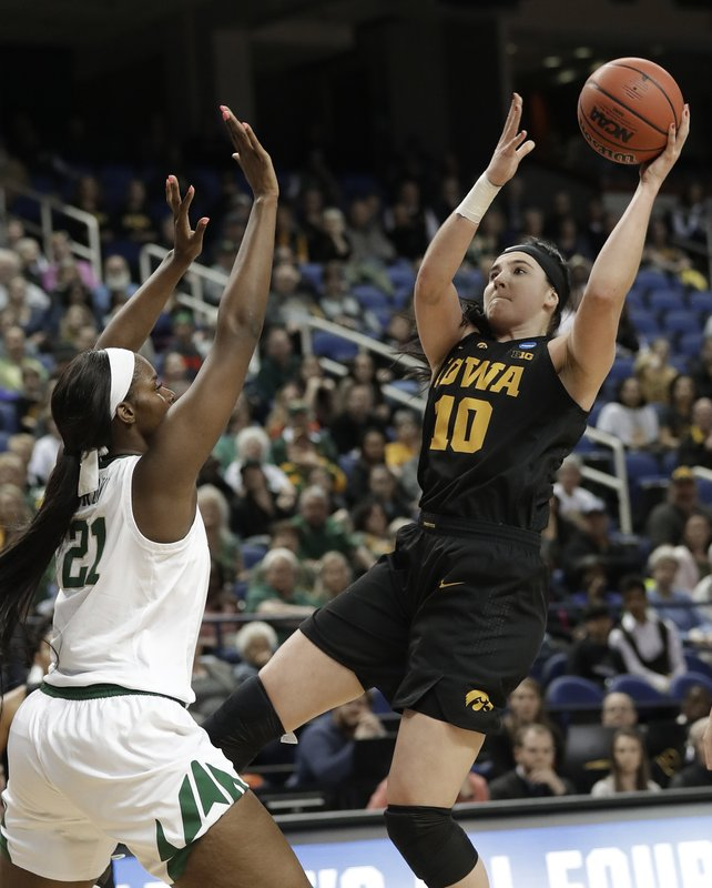 Iowa's Megan Gustafson (10) shoots against Baylor's Kalani Brown (21) during the first half of a regional final women's college basketball game in the NCAA Tournament in Greensboro, N. (AP Photo/Chuck Burton)