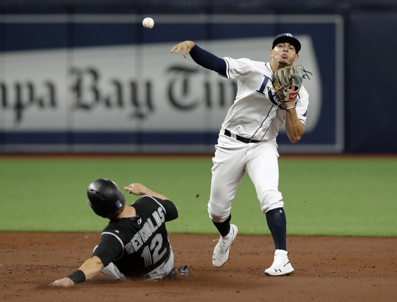 Tampa Bay Rays shortstop Willy Adames forces Colorado Rockies' Mark Reynolds at second base and relays the throw to first in time to turn a double play on Charlie Blackmon during the third inning of a baseball game Monday, April 1, 2019, in St. (AP Photo/Chris O'Meara)