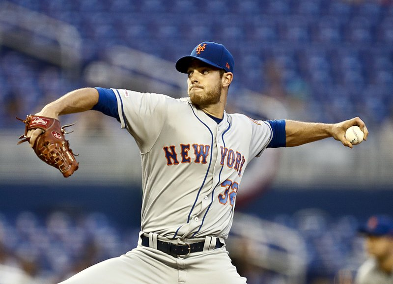 New York Mets starting pitcher Steven Matz delivers during the first inning of a baseball game against the Miami Marlins, Monday, April 1, 2019, in Miami. (AP Photo/Brynn Anderson)