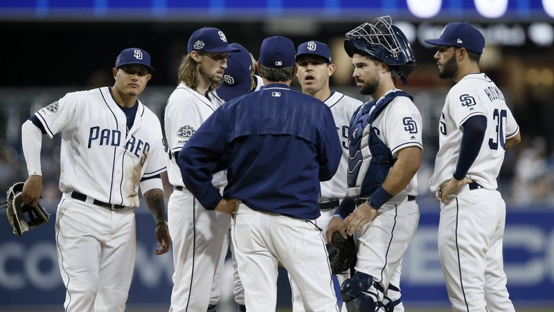 San Diego Padres pitching coach Darren Balsley, center, talks to starting pitcher Matt Strahm, second from left, and the infield during the first inning of a baseball game in San Diego, Monday, April 1, 2019. (AP Photo/Alex Gallardo)