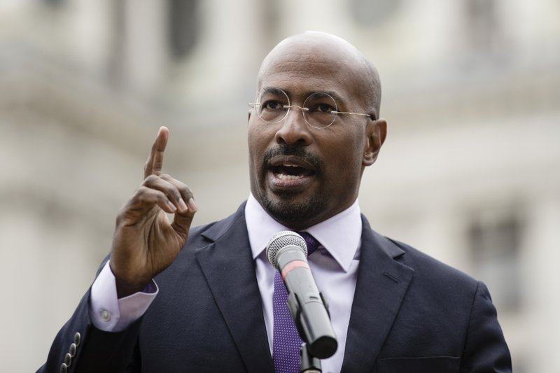 REFORM Alliance CEO Van Jones speaks at a gathering to push for drastic changes to Pennsylvania's probation system, in Philadelphia, Tuesday, April 2, 2019. (AP Photo/Matt Rourke)