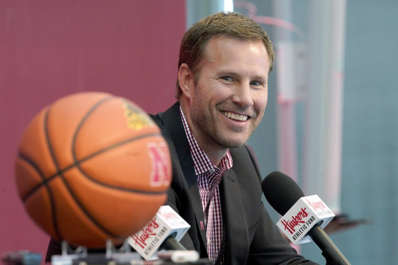 Fred Hoiberg is introduced as Nebraska's new NCAA college basketball head coach at a news conference in Lincoln, Neb. (AP Photo/Nati Harnik)
