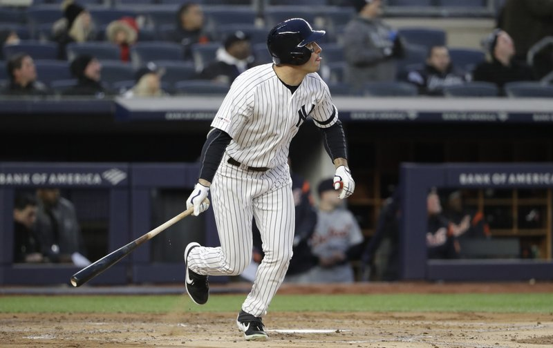 New York Yankees Mike Tauchman watches his second inning ground-rule double in a baseball game against the Detroit Tigers, Tuesday, April 2, 2019, in New York. (AP Photo/Kathy Willens)