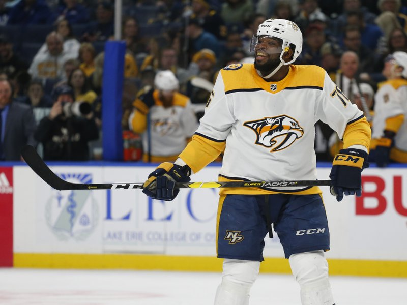 Nashville Predators defenseman P.K. Subban (76) celebrates his goal during the second period of an NHL hockey game against the Buffalo Sabres Tuesday, April 2, 2019, in Buffalo, N. (AP Photo/Jeffrey T. Barnes)