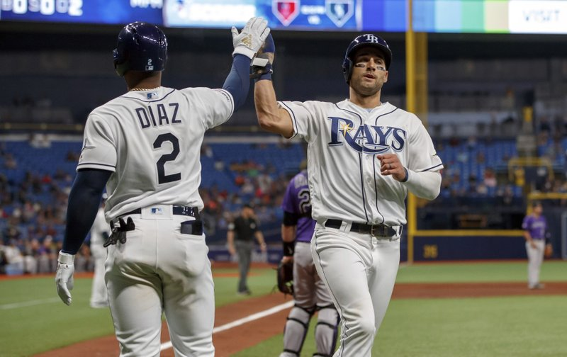 Tampa Bay Rays' Kevin Kiermaier, right, is congratulated by Yandy Diaz after scoring during the sixth inning of a baseball game against the Colorado Rockies Tuesday, April 2, 2019, in St. (AP Photo/Mike Carlson)