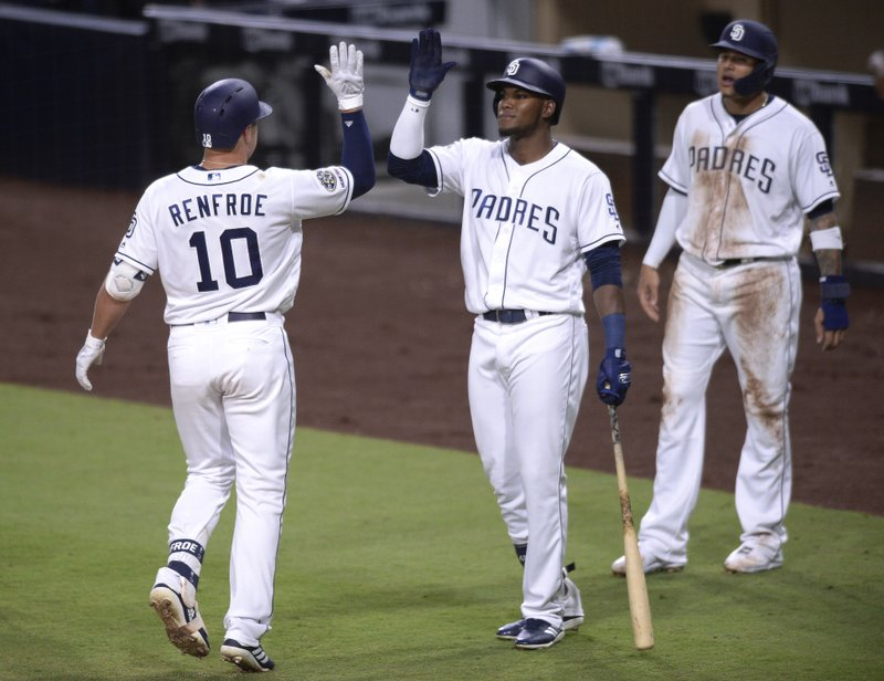 San Diego Padres' Hunter Renfroe is congratulated by Franchy Cordero after hitting a two-run home run during the first inning of a baseball game against the Arizona Diamondbacks, Tuesday, April 2, 2019, in San Diego. (AP Photo/Orlando Ramirez)