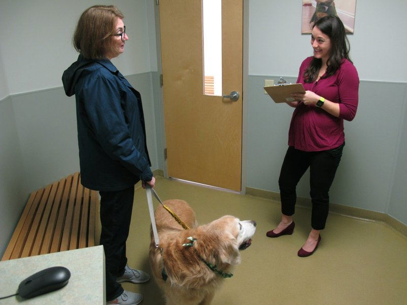 In this March 15, 2019, photo Dr. Lindsey Bullen checks her clipboard during a visit with Jeanine Begg and her golden retriever, Benko, at the Veterinary Specialty Hospital in Cary, N. (AP Photo/Allen G. Breed)