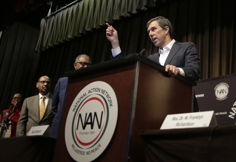 Democratic presidential candidate and former Texas congressman Beto O'Rourke speaks during the National Action Network Convention in New York, Wednesday, April 3, 2019. (AP Photo/Seth Wenig)