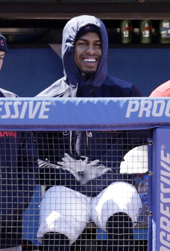 Cleveland Indians' Francisco Lindor watches from the dugout during the second inning of a baseball game against the Chicago White Sox, Wednesday, April 3, 2019, in Cleveland. (AP Photo/Tony Dejak)