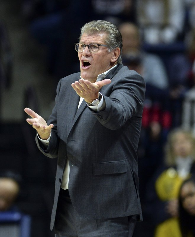 FILE - In this Nov. 11, 2018, file photo, Connecticut head coach Geno Auriemma has words for the referee in the second half of a women's NCAA college basketball game against Ohio State, in Storrs, Conn. (AP Photo/Stephen Dunn, File)